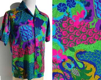 Vintage Aloha Shirt Waltah Clarke's Neon Hawaiian Jahaca Prints Loop Shirt L XL
