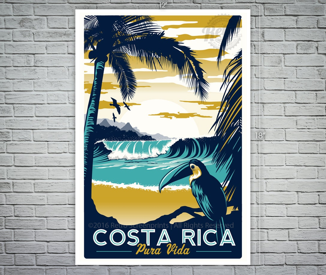 Vintage Travel Trailers: Costa Rica Retro Vintage Travel Poster