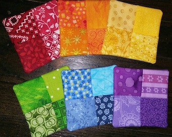 Set of 6 Red, Orange, Yellow, Green, Blue & Purple Rainbow Fabric Wine Glass Coasters