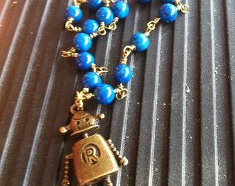 Cerulean Blue Riverstone & Bronze Robot Bracelet