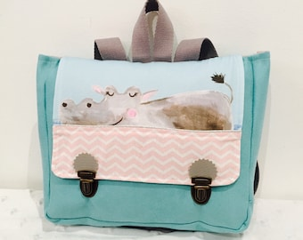 Binder of school kindergarten Hippo illustrated coupon suede/cotton-turquoise/pink/gray light