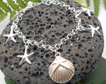 Sterling Silver Starfish Bracelet - Starfish, Beach Glass, Beach Wedding, Silver Bracelet, Silver Starfish, Charm Bracelet