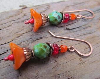 Turquoise & Orange Dangle Earrings ~ Beaded Earrings, Flower Earrings, Czech Glass Beads, Copper Earrings, Boho Earrings, Turquoise Earrings