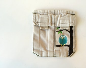 Teal Owl Earbuds Pouch, Coin Purse, Repurposed Pocket, Eco-Friendly Gift Idea for Her, Stocking Stuffer, Dice Bag, Lipstick Lip Balm Holder