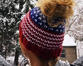American Flag Messy Bun Hat