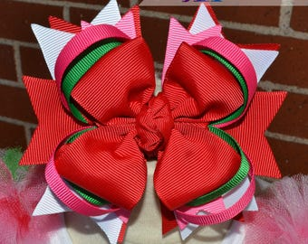 Strawberry Shortcake inspired Bow. Hair bow. Birthday Bow. Hair Accessories