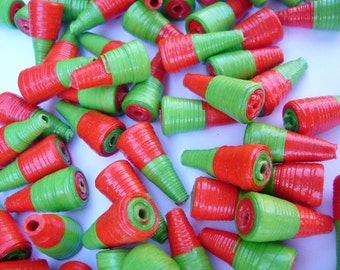 100 Christmas Beads - Paper Beads - Red and Green Beads - 2 Tone Beads - Jewellery Making beads - Xmas Beads - Small Beads - Christmas Decor
