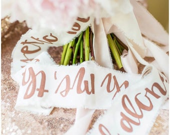 Handlettered Bridesmaid Bouquet Ribbons; Calligraphy Ribbon; Bridesmaid gift