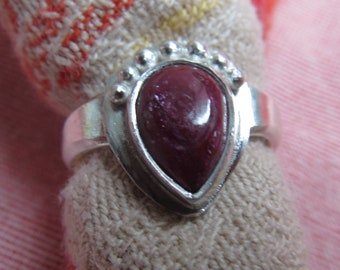 Genuine Ruby Teardrop in Granulated Silver Ring Size 5
