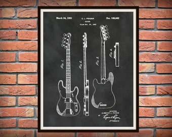 Patent 1952 Fender Guitar  - Designed by Clarence Fender - Rock Band Instrument  -  Music Room Art - Orchestra Art - Bass Guitar Patent