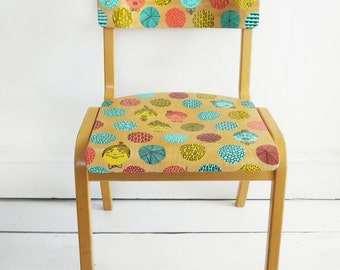 Upcycled Hand Painted Doodle Motif Retro Vintage School Chair