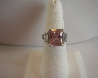 Vintage Signed Sterling Silver Pink Faceted Stone Cocktail Ring Size 7.5 FREE shipping