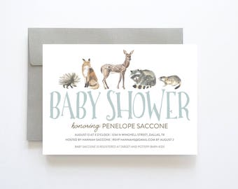 Woodland Baby Shower Invitation, Baby Shower Invitation Boy, Boy Baby Shower Invitation, Boy Baby Shower Invites, Baby Shower Invites Boy