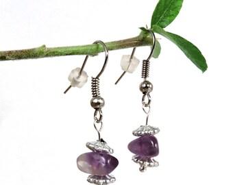 Pendientes colgantes de plata, joya naturales, amatistas pendientes barrocos, oído de lazo piedra gema amatista violeta zai