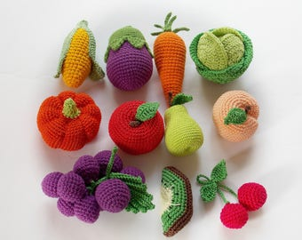 Crochet baby Rattle, Fruits and Vegetables set of 11, Ecofriendly toys play food toys,toddlers toys,birthday gifts ,Summer Fun, Pretend Play