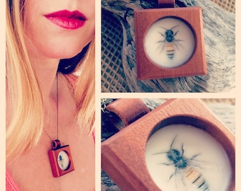 Encaustic pendant jewelry. Honey bee. Mahogany wood shadow pendant with wood loop and brass chain.