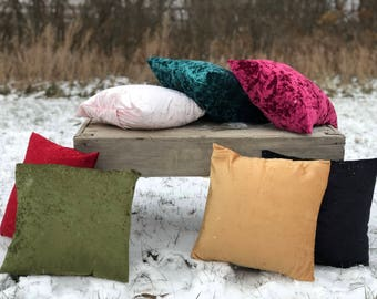 """Crushed Velvet Pillow Covers - Multiple Colors - Size 16"""" x 16"""""""