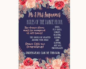 Navy Blue Blush Rose Gold Rules Of The Dance Floor Personalised Wedding Sign