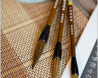 Free Shipping Chinese Calligraphy Material  Weasel Hair Brush Set / TB (Large,Medium,Small) - 0044LMS