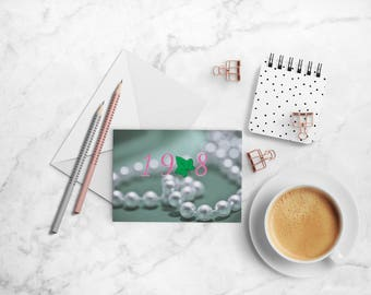 1908 Note Card Set, Alpha Kappa Alpha Sorority-inspired A2 Pink and Green Folded Cards