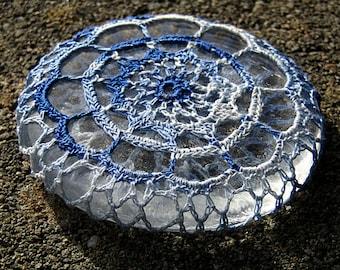 Blue Rosette Mini Paperweight crocheted lace fiber art thread crochet over glass pebble