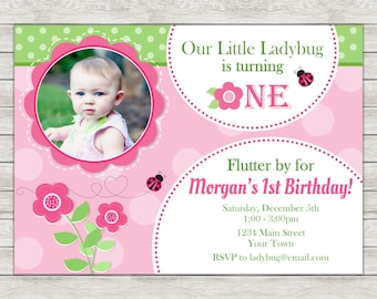 Ladybug Birthday Invitation, Pink Ladybug Birthday Invitation - Digital File (Printing Services Available)