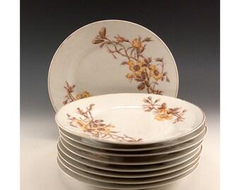 Vintage - Set of Nine Tressermann and Vogt 7 1/2 inch Dessert Plates - Yellow Rose Design - D and C - Limoges France