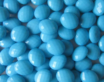 Blue Faceted Oval Acrylic Beads 12mm 20 Beads