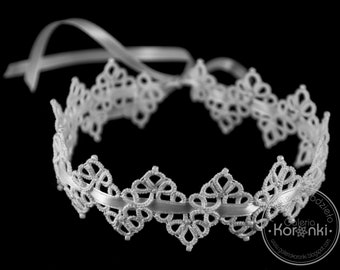 Sandra - hand tatted lacy bridal garter, prom garter, something blue for wedding