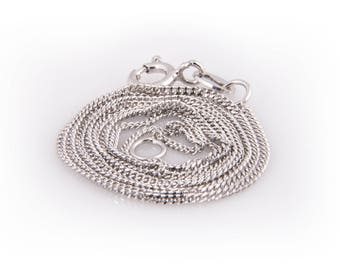Sterling Silver Curb Chain, 1mm with Rhodium Plating