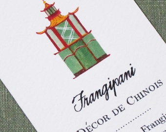 Chinoiserie Pagoda Design, Set of 50 Personalized Business Cards