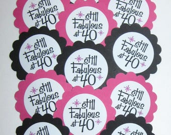 40th Birthday Cupcake Toppers/Party Picks Item #1724