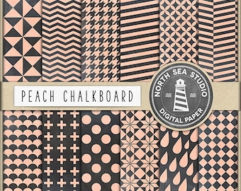 PEACH & CHALK / Digital Papers / Chalkboard Digital Paper / Chalkboard Patterns / Polkadot, Chevrons, Triangles / Coupon Code: BUY5FOR8