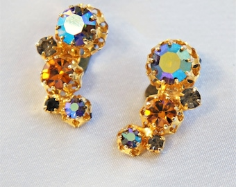 Austria Crystal Earrings Vintage Cresents Aurora Borealis Topaz Rhinestone