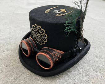 Steampunk Burning Man Black Vintage Wool Top Hat Fedora with Feathers Clockwork and Goggles