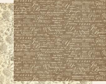 Graphic 45, Botanical Tea, Fauna, 8 x 8 Paper Single Sheet, Retired, Floral