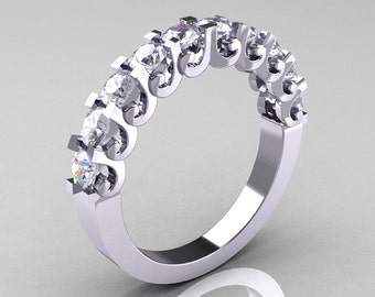 Modern Vintage 14K White Gold White Sapphire Designer Wedding Band R172-4-142-14KWGWS