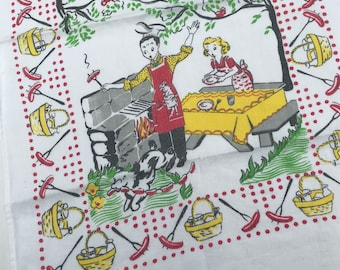 Kitschy Cute Vintage Towel - Newlyweds Have a Barbecue - Puppy Dog Steals the Hot Dogs - Too Cute!