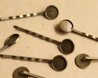 12 pc. Antique Brass Bobby Pins with 12mm Bezel Setting | FI-381