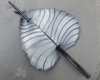 Fantasy Birch Leaf Leather Hair Slide in Blackened Silver, Shawl Pin or Stick Barrette, Small - Medium Size, Long Hair, 3rd Anniversary Gift
