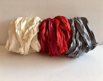 Silk Sari Ribbon-Recycled Antique White, Red, Gray Sari Ribbon-9 Yards