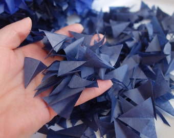PUFFetti Four (4) Bags Triangle Scrap Handmade Recycled Confetti Birthday Favor - Midnight Blue Starry Night Hanukkah Wedding Party Theme