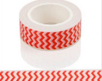 Masking tape-zig zag Red 10 m - Washi tape red chevron