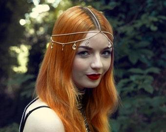 Silver Headdress, Silver Head Chain, Boho Headdress, Boho Hair Piece, Boho Head Chain, Silver Hair Piece, Silver Moon, Crescent Moon