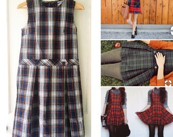 Vintage Preppy Plaid Jumper School Uniform