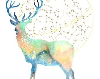 Deer Spirit Totem Animal ORIGINAL Watercolor 9X12