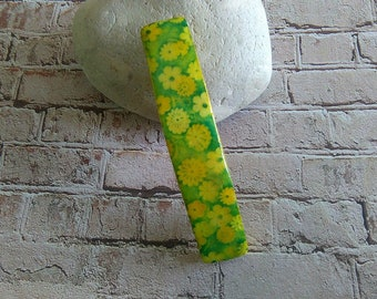 hair clip in yellow and green polymer clay