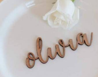 Laser cut name place card - wood name - Wedding place card - reception decor - place card - table setting