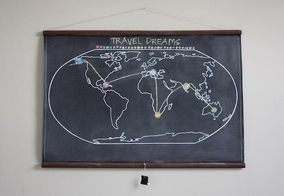 Chalkboard world map large size travel world map gumiabroncs Gallery