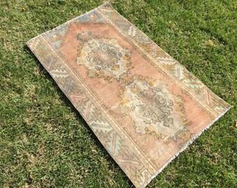 Oushak rug'double Medallion,vintage rug oushak pastel,faded&muted rug,turkihs vintage.130/79/4'2×2'5